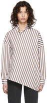 Totême White and Brown Striped Noma Shirt
