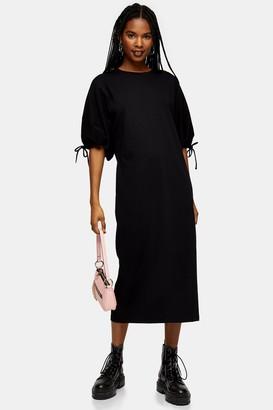 Topshop Womens Black Drawstring Midi Dress - Black
