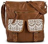 Mossimo Women's Crochet Pocket Tote Faux Leather Handbag Brown