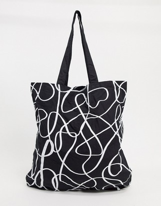 ASOS DESIGN large organic cotton shopper in abstract squiggle print