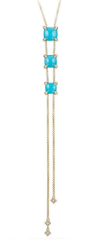David Yurman Ch'telaine Y Necklace with Turquoise & Diamonds in 18K Gold