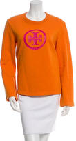 Tory Burch Logo Screen Print Crew Neck Sweater