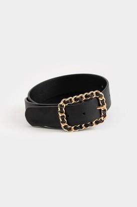 francesca's Dora Chain Buckle Belt - Black