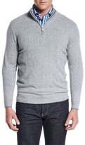 Neiman Marcus Tipped Half-Zip Cashmere Sweater, Gray