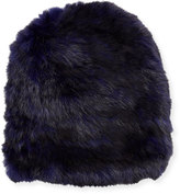 Jocelyn Knit Fur Hat, Heather Navy/Black