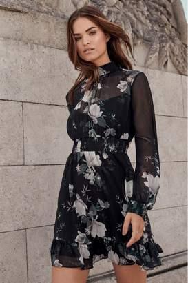 Lipsy High Neck Shirred Mini Dress - 8 - Black