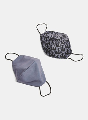 Topman 2 Pack Charcoal Grey and Monogram Print Fashion Face Mask*