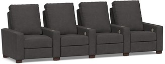 Pottery Barn Turner Square Arm Leather Media Row of 4