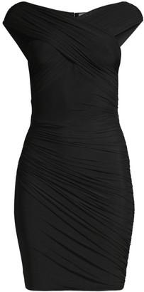 Herve Leger Off-The-Shoulder Ruched Mini Dress