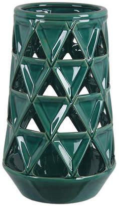 "Privilege Pierced Green Large Ceramic Vase, 8.5""x8""5""x13.5"""