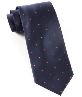 Tie Bar Satin Dot Navy Tie