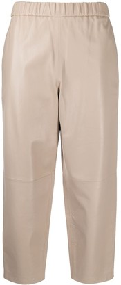 Dusan High-Waisted Cropped Leather Trousers