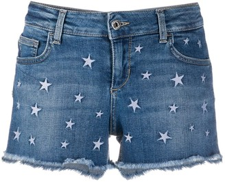 Liu Jo Star-Embroidered Denim Shorts
