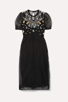 Miu Miu Embroidered Tulle Midi Dress - Black