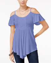American Rag Cold-Shoulder Lace-Trim Top, Only at Macy's