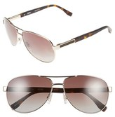 BOSS Men's 62Mm Polarized Aviator Sunglasses - Semi Matte Light Gold/ Brown