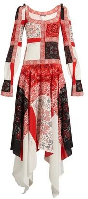Alexander McQueen Scoop-neck Cross-stitch Print Crepe De Chine Dress - Womens - Ivory Multi