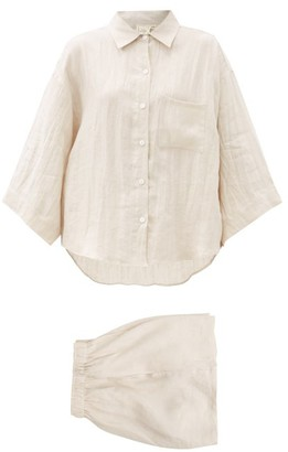 Deiji Studios 03 Short Linen Pyjamas - Beige