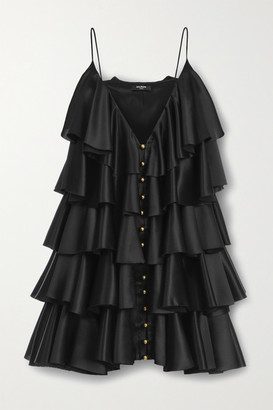 Balmain Tiered Ruffled Silk-satin Mini Dress - Black
