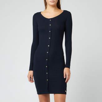 Superdry Women's Button Down Rib Mini Dress - Deep Navy - UK 10