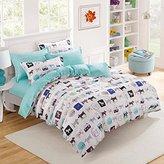 MAXYOYO Home Textiles Children Cartoon Dog Duvet Cover Sets,Blue Dots Flat Sheet,Teens Bedding 4Pcs,Full