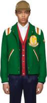Gucci Green Guccy Tiger Felt Bomber Jacket
