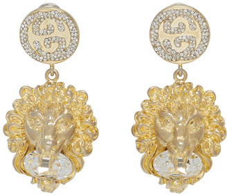 Gucci Gold Crystal Lion Earrings