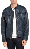Black Rivet Men's Blue Leather Moto Jacket