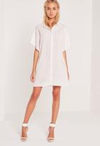 Missguided Kimono Sleeve Shirt Dress Cream