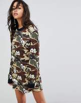 House of Holland Oversized Jersey Dress In Camo Print