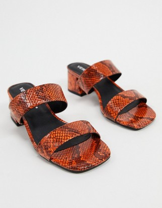 Vero Moda 2 strap heeled sandals in snake