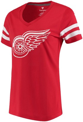 Women's Fanatics Branded Red Detroit Red Wings Iconic Mesh Sleeve Jersey V-Neck T-Shirt