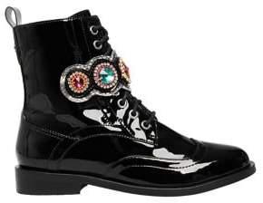 Betsey Johnson Dexter Embellished Patent Combat Boots