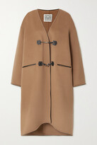 Thumbnail for your product : Totême Leather-trimmed Brushed Wool And Cashmere-blend Coat - Brown