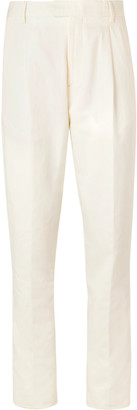 Caruso Cream Cotton, Linen And Silk-Blend Suit Trousers