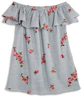 Aqua Girls' Striped & Floral-Embroidered Off-the-Shoulder Dress, Big Kid - 100% Exclusive