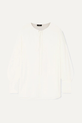 Theory Tie-detailed Silk Crepe De Chine Blouse - White