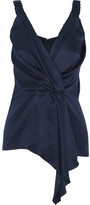Victoria Beckham Wrap-effect Draped Silk-twill Top - Midnight blue