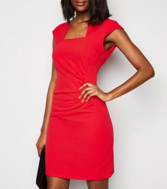New Look Missfiga Cap Sleeve Ruched Bodycon Dress