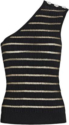 Balmain Striped One-Shoulder Knit Top