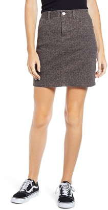 1822 Denim Cheetah Print Denim Miniskirt