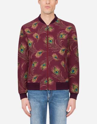 Dolce & Gabbana Stretch Cady Jacket With Feather Print