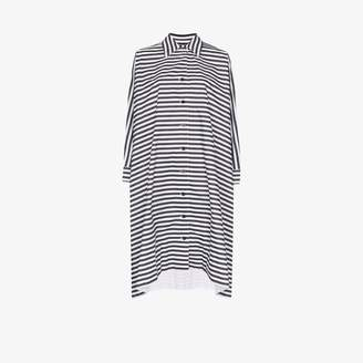 Rosetta Getty Womens Black Striped Shift Midi Dress