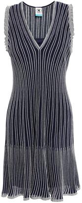 M Missoni Metallic Striped Ribbed Cotton-blend Mini Dress