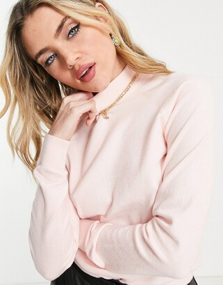 Pieces Alisa high neck knit jumper in pink