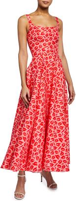 Brandon Maxwell Lip Print Shantung Square-Neck Dress