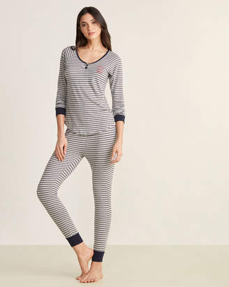ED Ellen Degeneres Two-Piece Striped Henley & Pants PJ Set