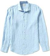 Murano Long-Sleeve Slim-Fit Solid Linen Spread Collar Shirt