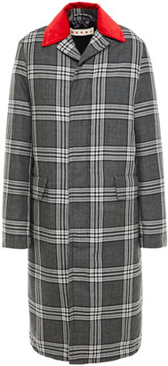 Marni Shell-trimmed Checked Wool Down Coat