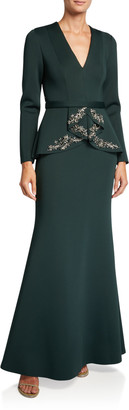 Badgley Mischka V-Neck Long-Sleeve Beaded Peplum Scuba Gown